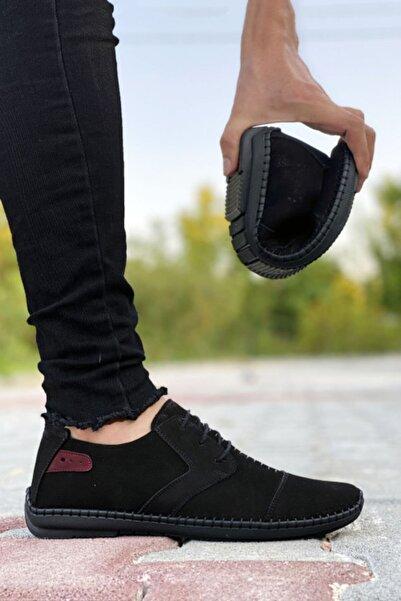 BIG KING Hakiki Deri Siyah Çarık Model Erkek Ayakkabı