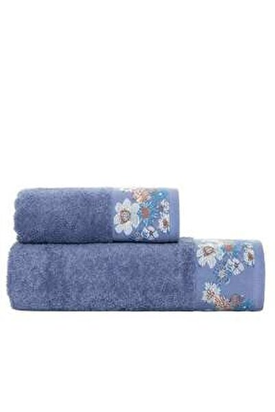 Belissa Jakarlı Banyo Havlusu Mavi