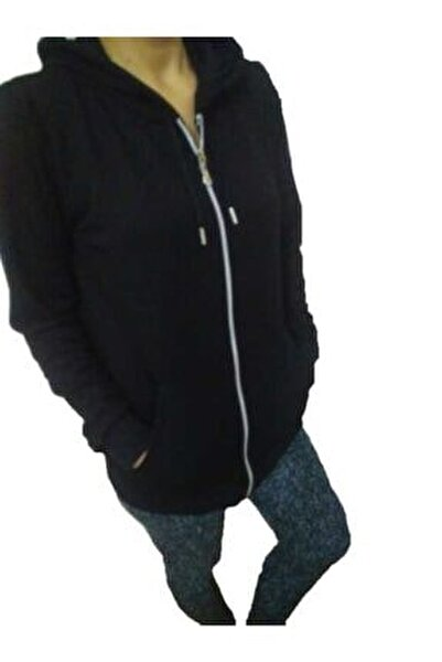 Bayan Sweatshirt Fermuarlı Kapişonlu Cepli