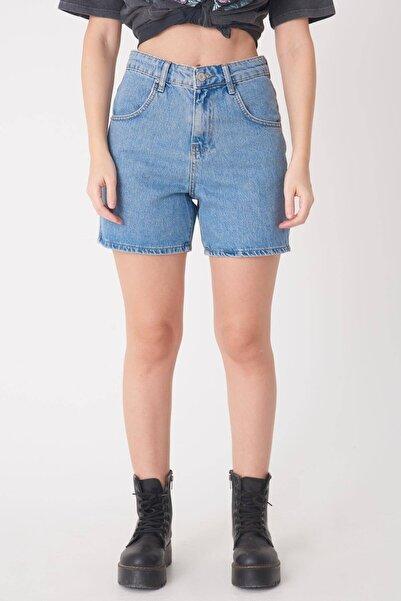 Addax Kadın Kot Rengi Yüksel Bel Jean Şort Ş6805 - Pnh ADX-0000022750