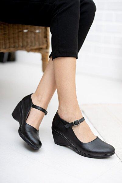 epaavm Dolgu Taban Siyah Cilt Ayakkabı