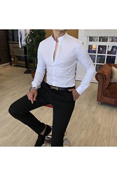 TerziAdemAltun Italyan Kesim Slim Fit Erkek Hakim Yaka Gömlek Beyaz T4797