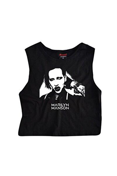 fame-stoned Marilyn Manson Baskılı Göbek Üstü-yarım T-shirt