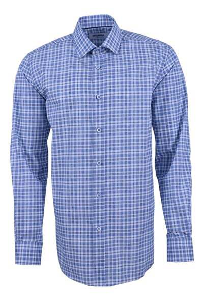 Ottomoda Uzun Kollu Kareli Erkek Gömlek Mavi-2
