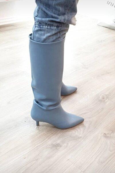 trendyes Mavi Süet Alçak Topuklu Çizme Maggie