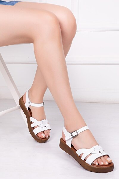 Deripabuc Hakiki Deri Beyaz Kadın Deri Sandalet Dp-1014