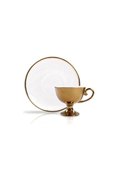 Sembol Altın Beyaz Ayaklı 6 Kişilik Türk Kahvesi Fincanı