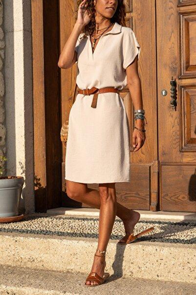 Güneşkızı Kadın Bej Polo Yaka Airobin Elbise Gk-bst2883