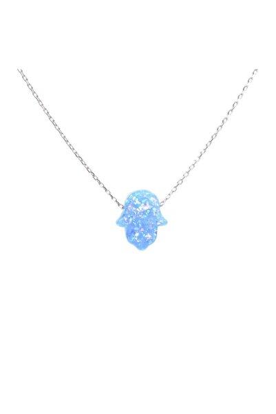 Som Gümüş & Tesbih 925 Ayar Gümüş Mavi Opal Taşlı Fatma Ana Eli Kolye