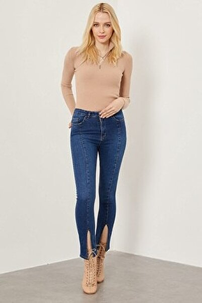 Yırtmaçlı Slim Fit Pantolon - Orta Mavi