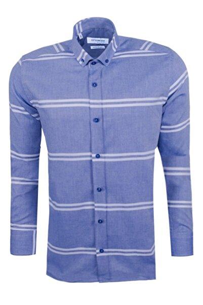 Ottomoda Uzun Kollu Çizgili Erkek Gömlek Mavi