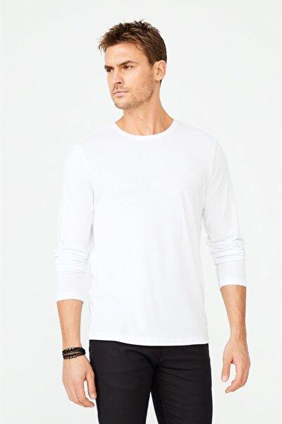 Avva Erkek Beyaz Bisiklet Yaka Düz T-shirt A02y1076