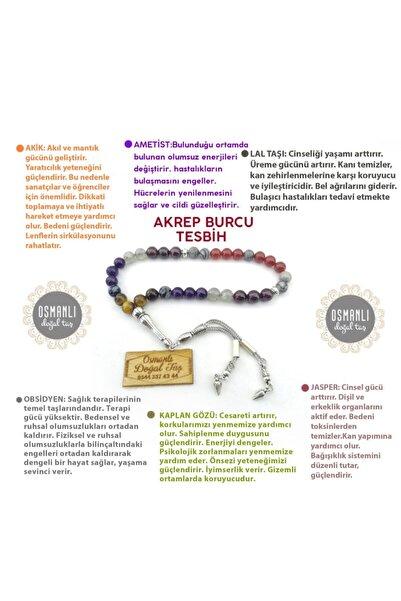 OSMANLI DOĞAL TAŞ Akrep Burcu Tesbih-akik-ametist-lal Taşı-obsidyen-kaplan Gözü-jasper