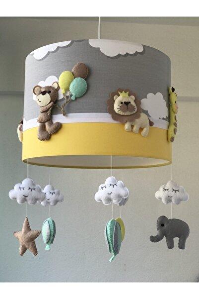 atölye ay ışığı 35 Cm Çapında Çeşitli Hayvan Figürlü Sarı Bebek/çocuk Odası Avize