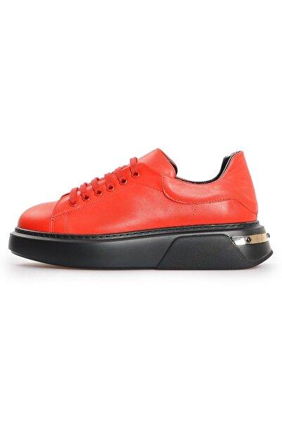 Flower Kırmızı Deri Kadın Sneakers