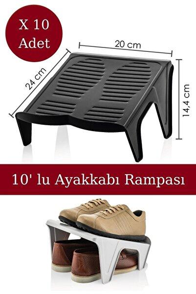 Nandy Home Çiftli Ayakkabı Rampası 10' Lu Siyah