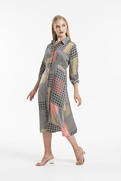 Flow Saten Yeni Sezon Desenli Elbise