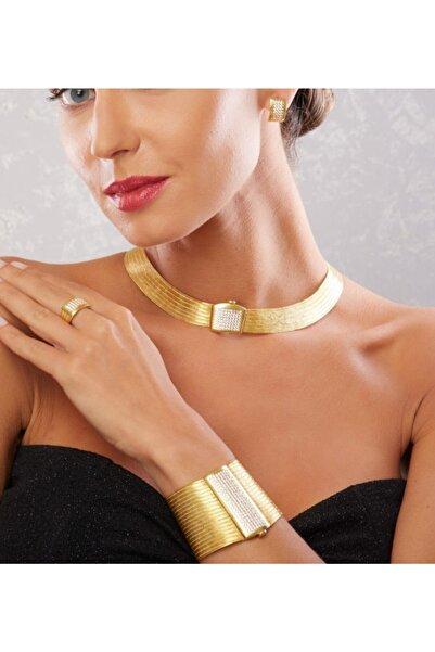 Mia Vento 19 Sıra Bileklik 7 Sıra Gerdanlık Full Taşlı Toka Altın Kaplama Gümüş Trabzon Hasırı Set