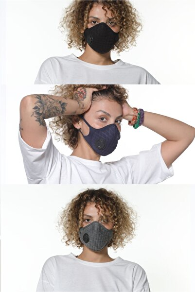 Oxyofficial 3'lü Ayarlanabilen Filtreli %100 Pamuklu Koyu Renkli Yıkanabilir Maske Paketi