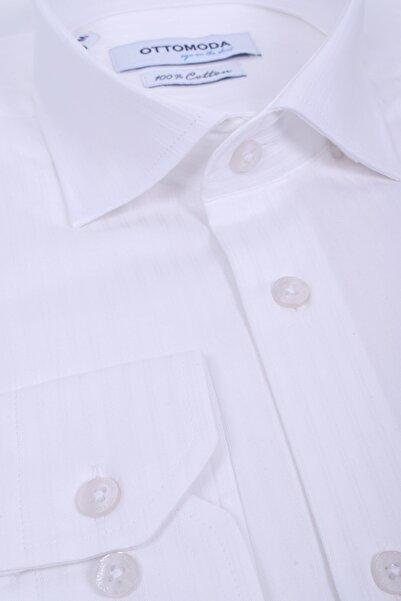 Ottomoda Uzun Kollu Desenli Erkek Gömlek Beyaz Kendinden Desenli