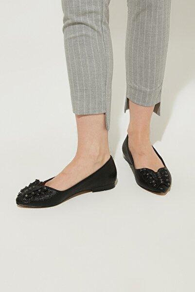ZİNDİ Kadın Taşlı Babet Ayakkabı Siyah