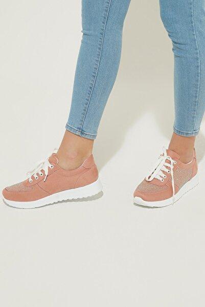 ZİNDİ Kadın Taş Detaylı Sneaker Ayakkabı Pudra