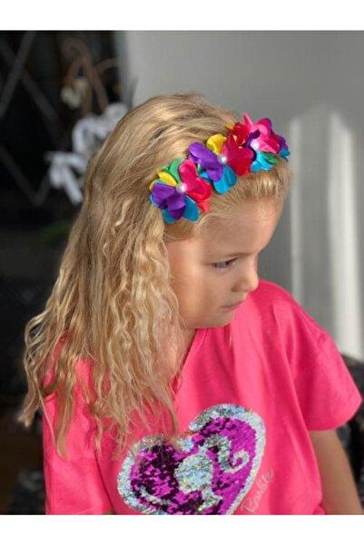 QUEEN AKSESUAR Yeni Trend Moda Saten Inci Çiçekli Anne Kız Çocuk Renkli Unicorn Gökkuşağı Taç