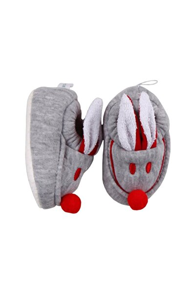 bebegen Gri Kırmızı Tavşan Kulaklı Penye Kaymaz Taban Patik
