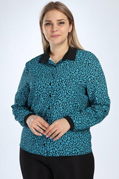 Selent Kadın Mavi Siyah Baskılı Büyük Beden Gömlek