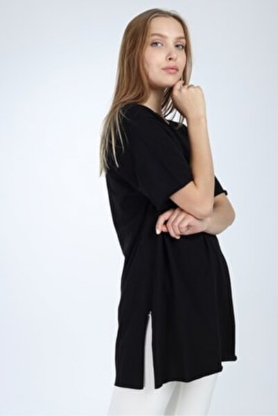 Siyah Yırtmaçlı Basic Oversize T-shirt