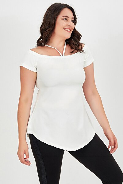 modaonz Beyaz Tek Biyeli Yaka Lastikli Bluz