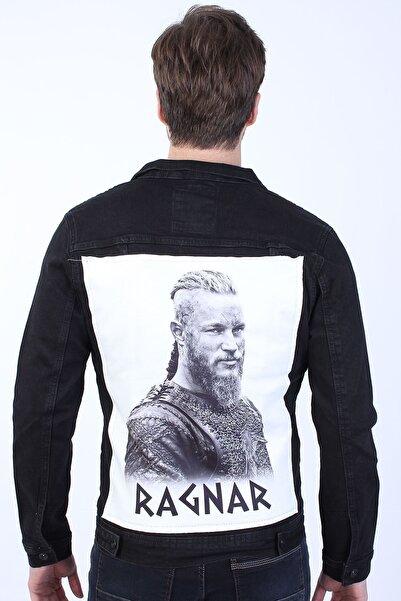 LTC Jeans Ragnar Baskılı Erkek Siyah Yıkamalı Kot Ceket