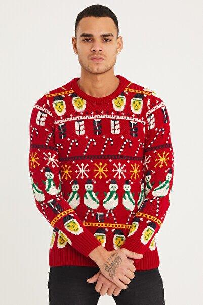 Tarz Cool Erkek Kırmızı Christmas Yılbaşı Kazağı-noelkzkr03s