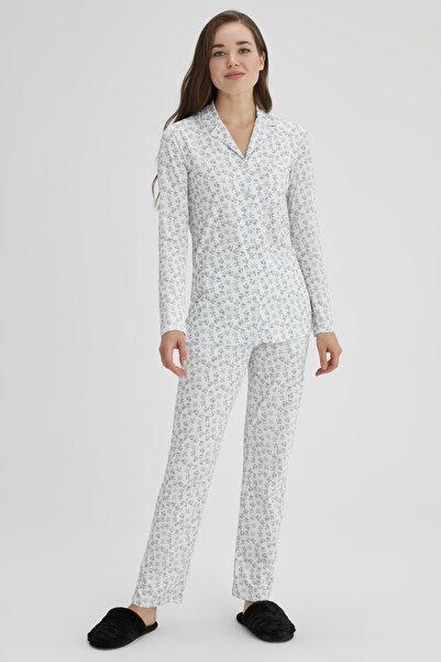 Dagi Ekru Kadın Pamuk Çıtır Çiçek Gömlek Pijama Takımı