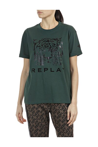 Replay Kadın Haki Pamuklu T-shirt