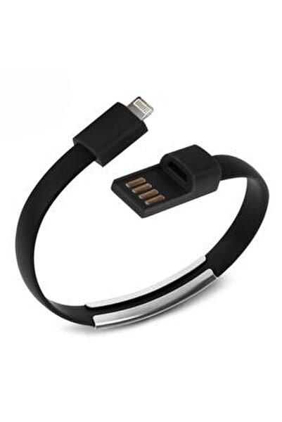 Apple Lightning Uyumlu Siyah Bileklik Şarj Data Kablosu