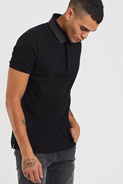 TBASIC Erkek Siyah Fleksi Polo Yaka Tişört