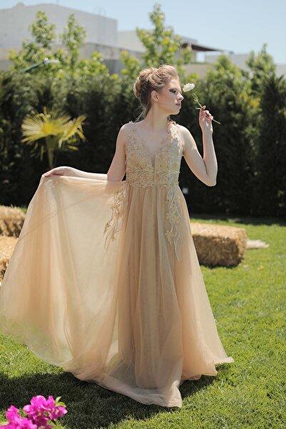 minel aşk Gold Datel Detaylı Abiye Elbise