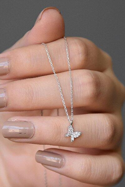 İste Senin Olsun 925 Ayar Gümüş Rodyum Kaplama Beyaz Taşlı Minimal Kelebek Kolye