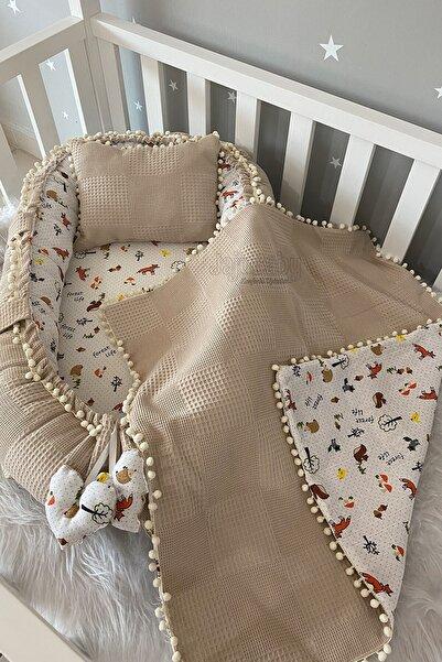 Jaju Baby Pike Kumaş Ve Müslin Kumaş Tilki Tasarım Ponponlu 3'lü Babynest Set