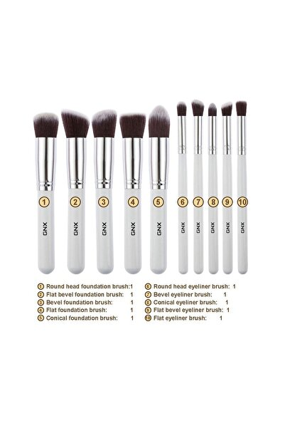 GNX 10'lu Fırça Seti - 10 Pcs Brush Set Beyaz