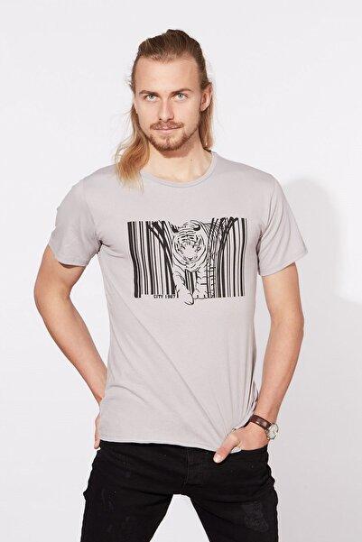BARRELS AND OIL Kaplan Baskılı Basic T-shirt-gri