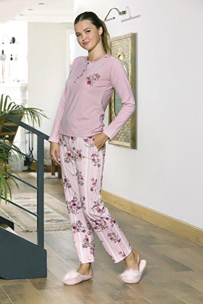STYLE SENFONİ Bayan Patlı Yaka Şardonlu Lyc Penye Kışlık Pijama