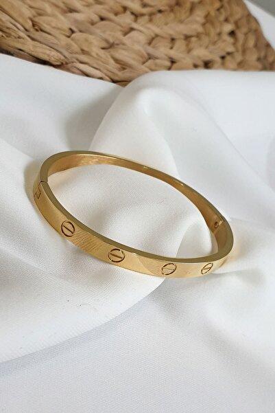 Çlk Accessories Kadın Altın Çelik Kelepçe Bileklik