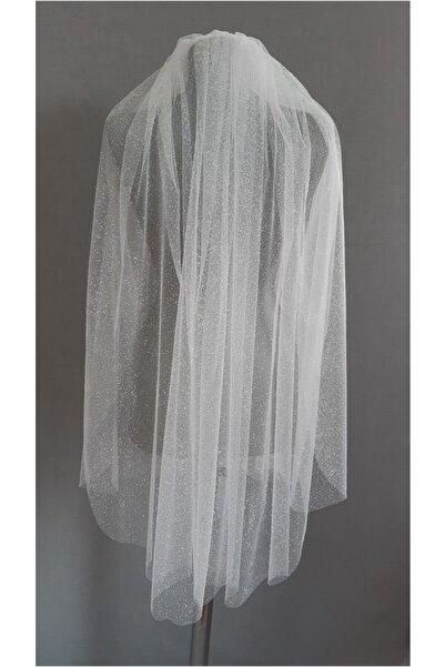 Suzanna Moda Püskürtme Simli Kırık Beyaz Düz Kenarlı Duvak