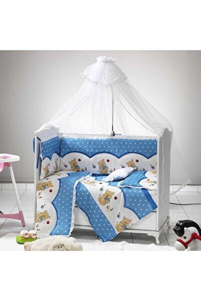 BABYFUN 7 Parça Mavi Bebek Uyku Seti Bebek Beşik Örtüsü 60x120 Cm