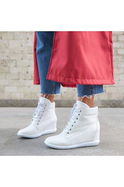 Ayakkabı Delisiyim Ayiks Beyaz Gizli Topuk Bot