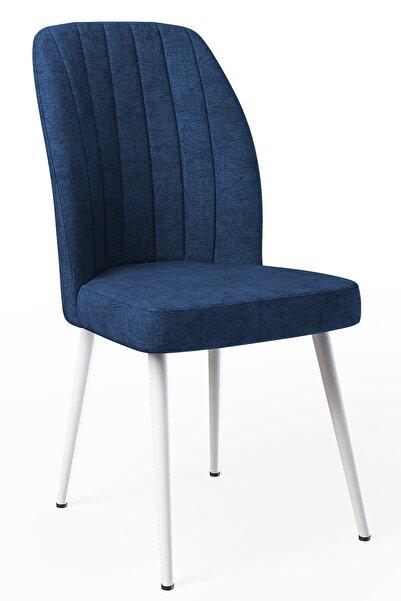Güven Mobilya Kare Gold Lacivert-metal Beyaz Ayaklı Sandalye