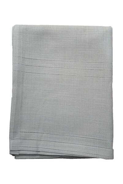 erciyesceyiz Gri Keten Kumaş Çizgili Masa Örtüsü 160*220 cm