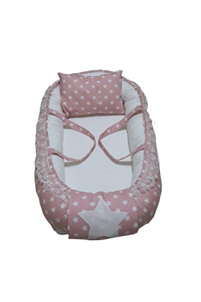 Babynest - Bebek Yatağı Pudra Mini Yıldız - Kirli Beyaz